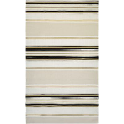 Grand Cayman West Bay Ivory and Black Outdoor Rug