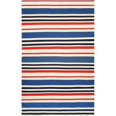 Grand Cayman Callabash Ivory and Red Outdoor Rug