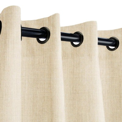 Sunbrella Canvas Flax Outdoor Curtain with Dark Gunmetal Grommets 50 in. x 84 in.