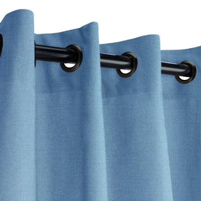 Sunbrella Canvas Sapphire Blue Outdoor Curtain with Dark Gunmetal Grommets 50 in. x 96 in.