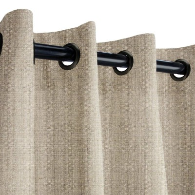 Sunbrella Cast Ash Outdoor Curtain with Nickel Grommets 50 in. x 84 in.
