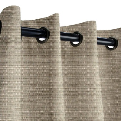 Sunbrella Linen Taupe Outdoor Curtain with Dark Gunmetal Grommets 50 in. x 108 in.