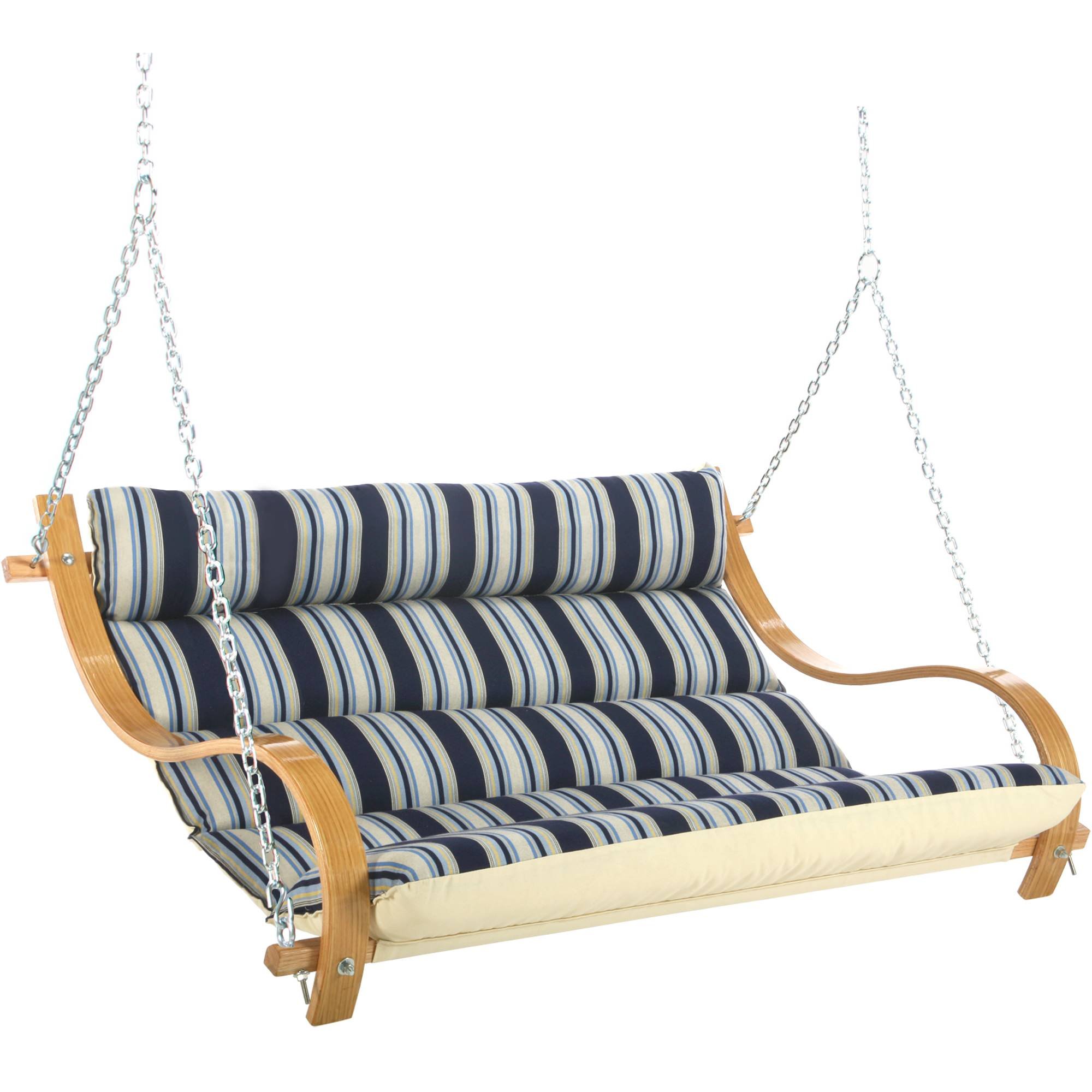 Deluxe Cushioned Double Swing   Hamptons Summer Stripe ...