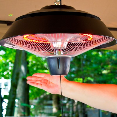Infrared Indoor/Outdoor Ceiling Electric Patio Heater in Black