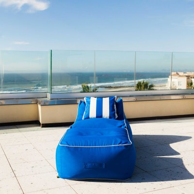 Outdoor Sunbrella Bean Bag Lounger and Square Ottoman Set