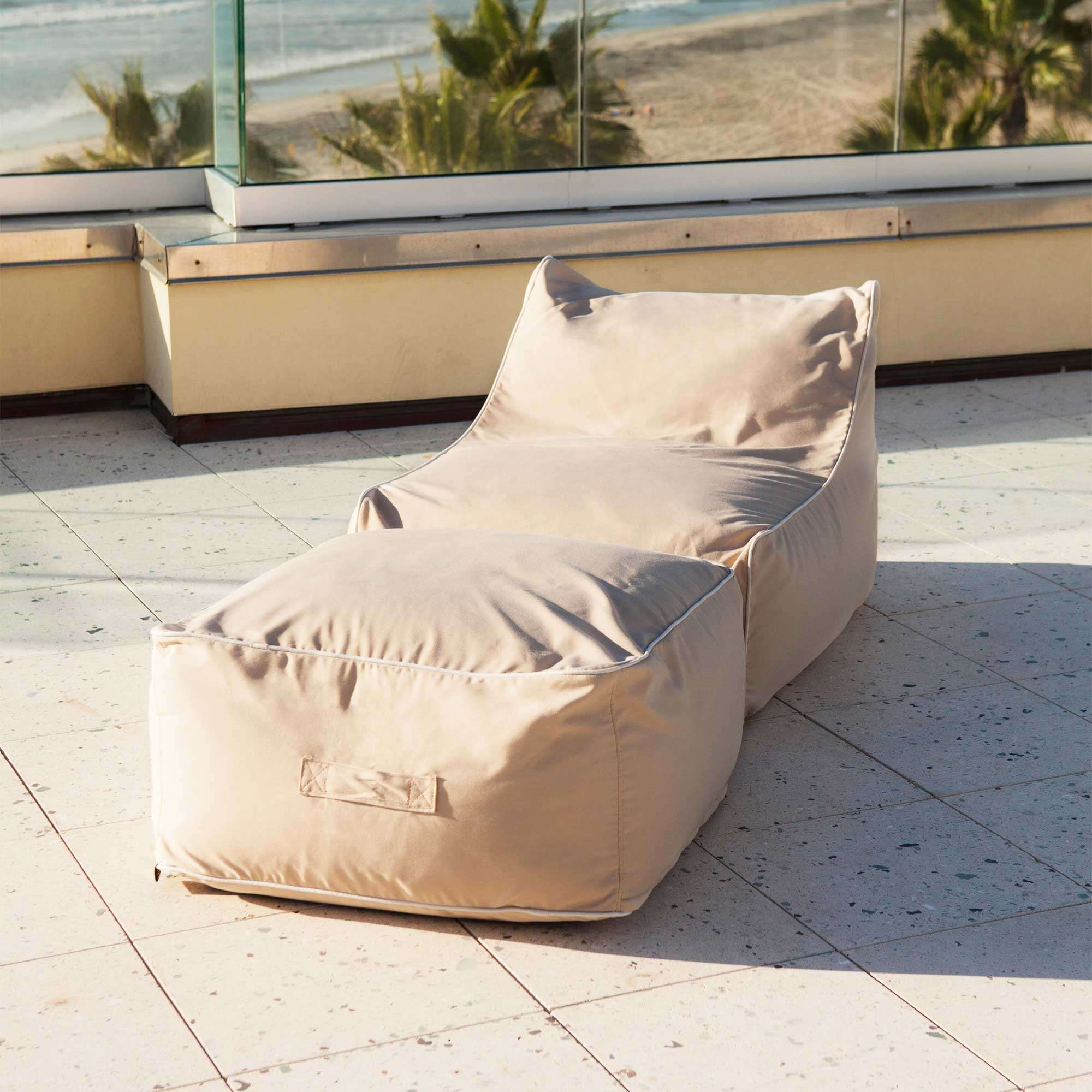 ... Outdoor Sunbrella Bean Bag Lounger And Square Ottoman Set