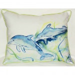 Betsy's Dolphins Outdoor Pillow