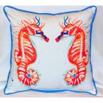 Coral Sea Horses Outdoor Pillow