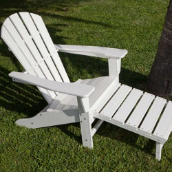 Palm Coast Ultimate Adirondack with Hideaway Ottoman in White