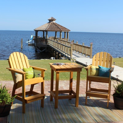 Stained Cypress Adirondack Bar Chair