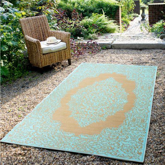 Istanbul Fair Aqua & Warm Taupe Outdoor Mat