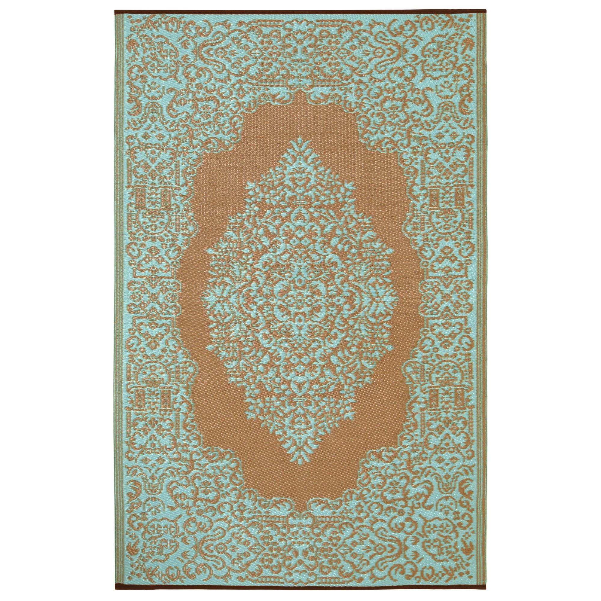 Istanbul fair aqua warm taupe outdoor mat dfohome for Warm rugs
