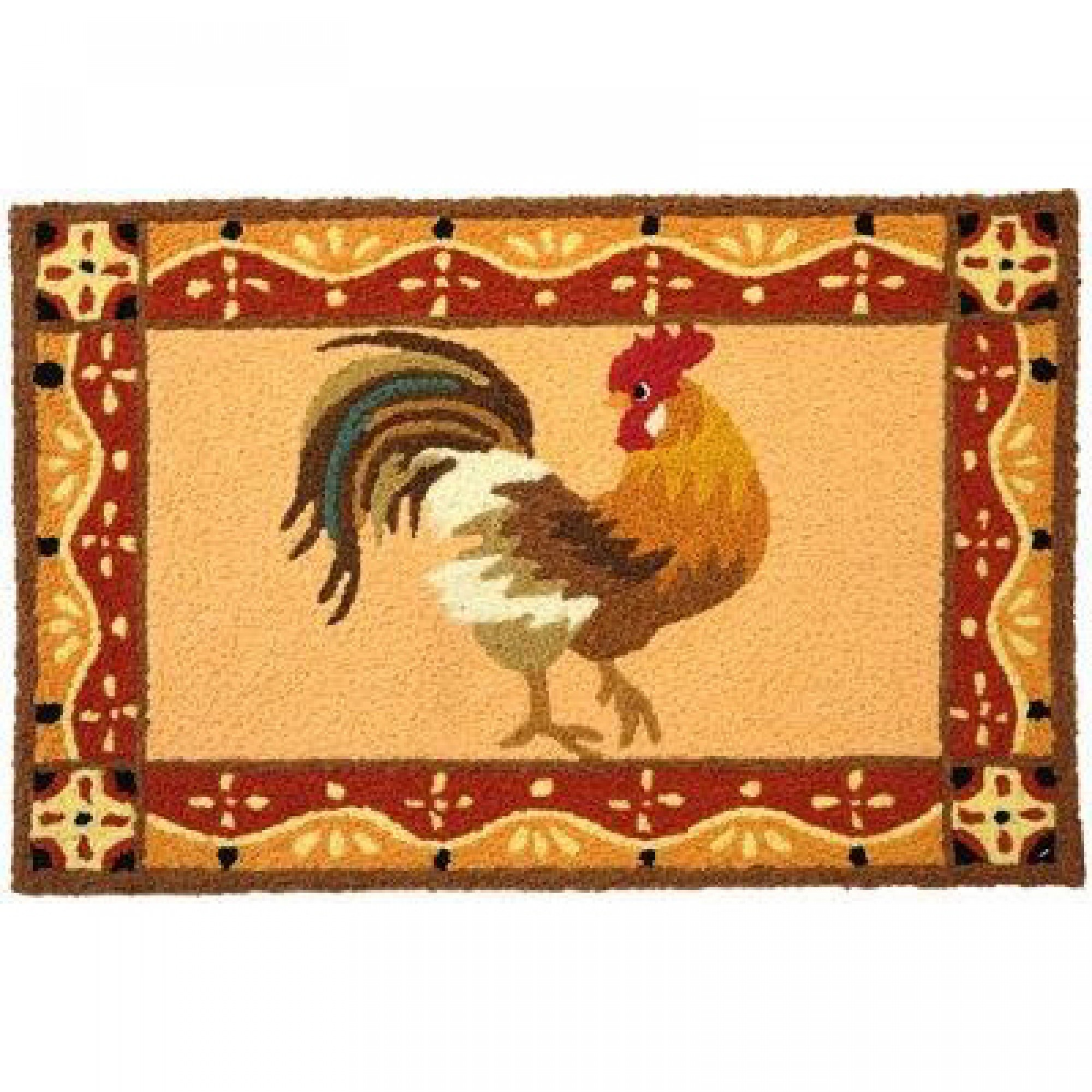 Charmant Jellybean Barnyard Rooster Rug Outdoor Door Mat