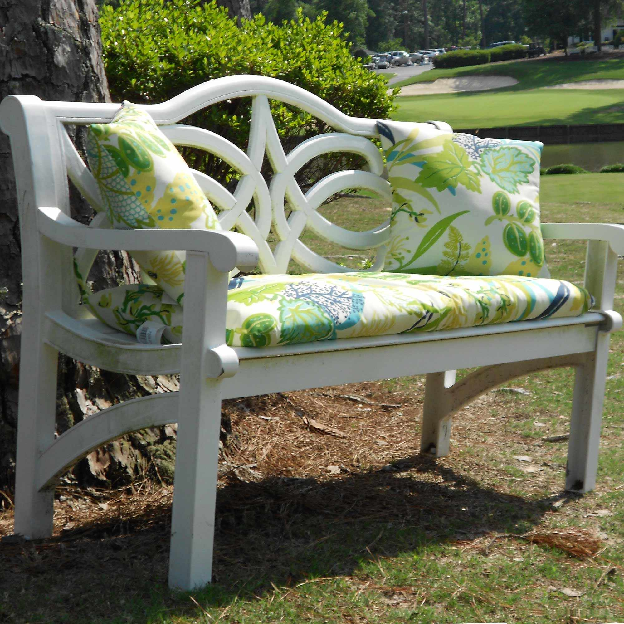 Bench Set Two Outdoor Pillows And 45 In Bench Cushion