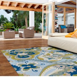 Home and Porch Spa Floral Outdoor Rug