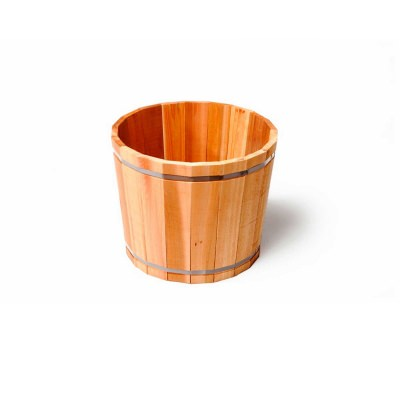 SGC 16 in Wide Barrel in a Box Cedar Round Planter