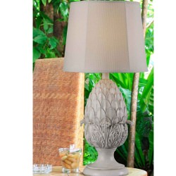 Artichoke Outdoor Table Lamp in Roman White Finish