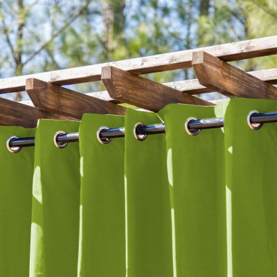 Kiwi Extra Wide Outdoor Curtain with Nickel Grommets