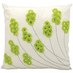 Mina Victory Felt Flowers Apple Green Embriodered Outdoor Pillow