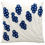Mina Victory Felt Flowers Navy Embriodered Outdoor Pillow