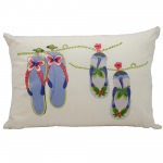Mina Victory Flip Flops Ivory Embriodered Outdoor Pillow