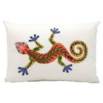 Mina Victory Red Lizard White Embriodered Outdoor Pillow