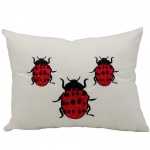 Mina Victory Lady Bugs Ivory Embriodered Outdoor Pillow