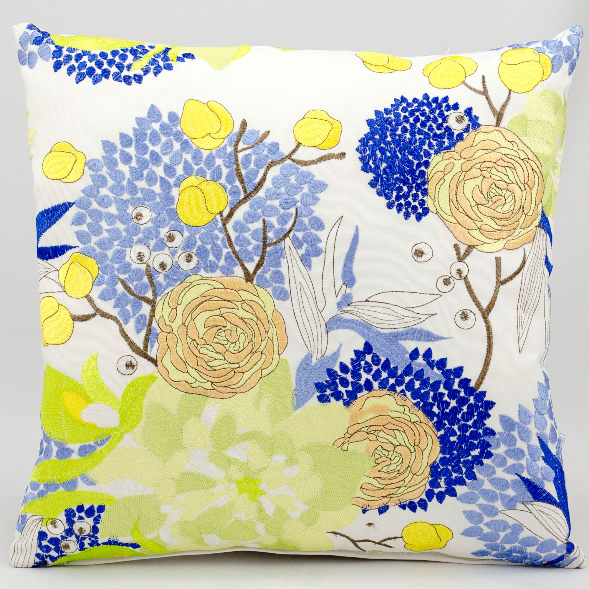 Mina Victory Blue And Yellow Flower White Outdoor Pillow