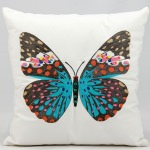 Mina Victory Turquoise Butterfly White Embriodered Outdoor Pillow