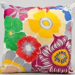 Mina Victory Wild Flowers Multi Embriodered Outdoor Pillow