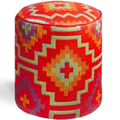Lhasa Orange and Violet Pouf