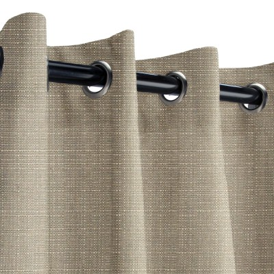 Sunbrella Linen Taupe Outdoor Curtain with Grommets