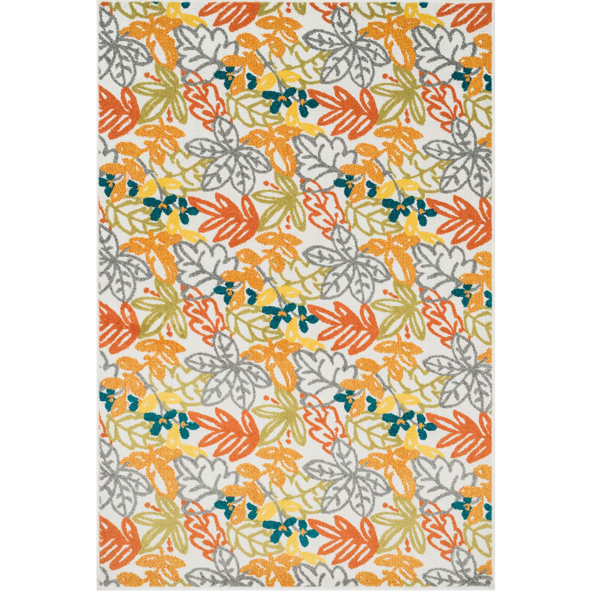 Orange Fall Leaves Outdoor Rug 5ft 2in X 7ft 5in Loloi