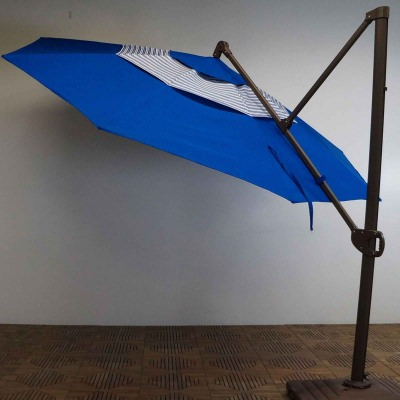 11 FT. Trigger Lift Cantilever Umbrella with Double Valance in the color Pacific Blue Stripe