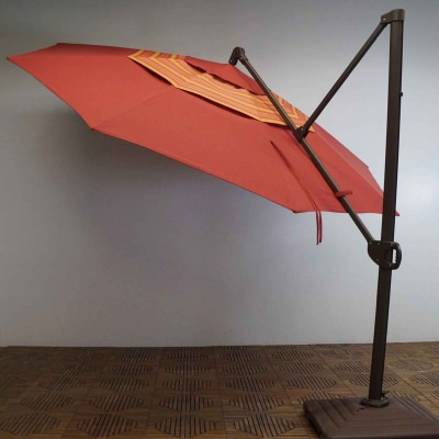11 FT. Trigger Lift Cantilever Umbrella with Double Valance in the color Paprika Stripe
