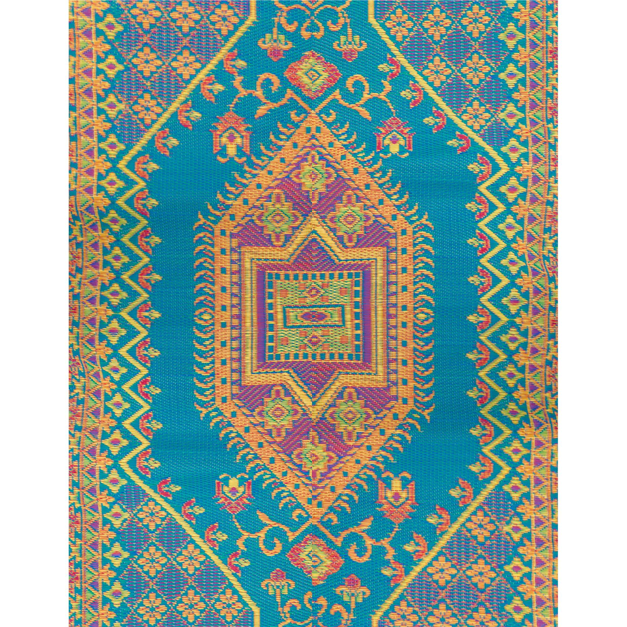 Oriental Turkish Aqua Outdoor Mat 5ft X 8ft