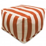 Burnt Orange Vertical Stripe Large Outdoor Ottoman
