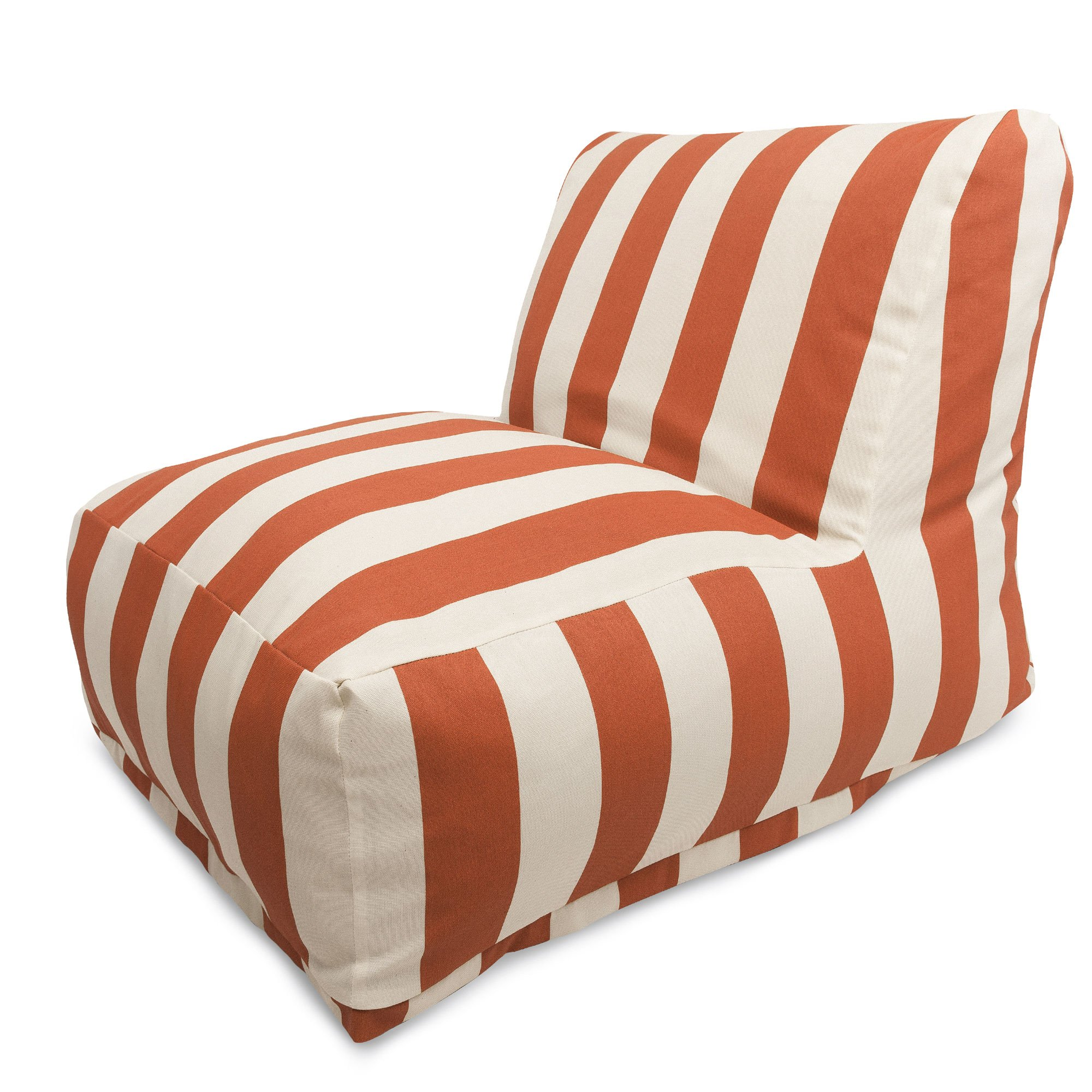 Beau Burnt Orange Vertical Stripe Outdoor Bean Bag Chair