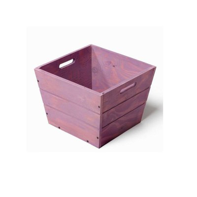 SGC 12 in Square Wood Planter in Purple with Handles