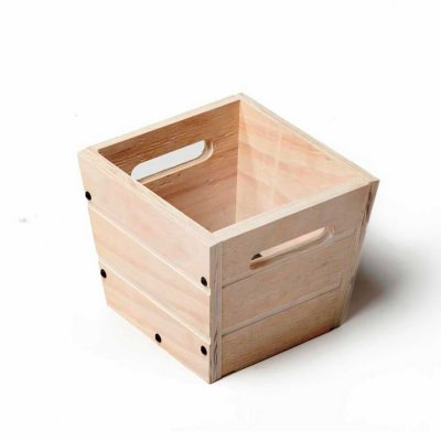SGC 12 in Square Wood Planter in White with Handles