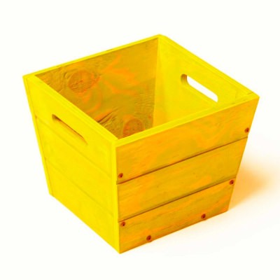 SGC 12 in Square Wood Planter in Yellow with Handles