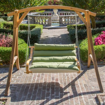 Deluxe Cushioned Double Swing Made with Sunbrella - Spectrum Cilantro
