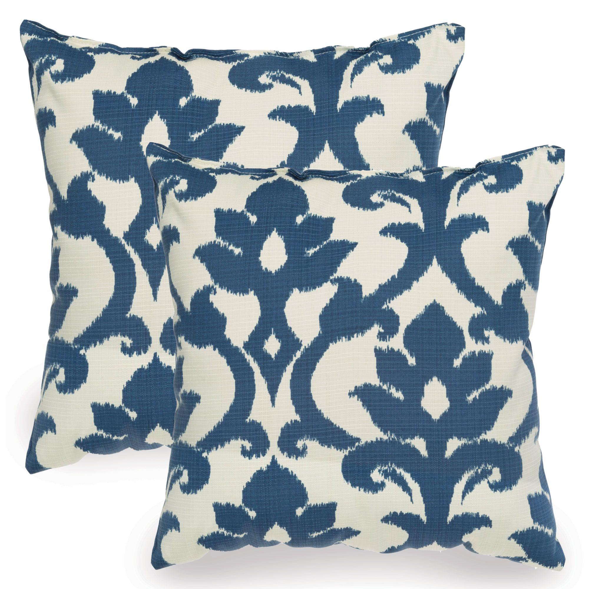Navy Blue Basalto Indoor Outdoor Throw Pillow Set Of Two