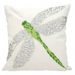Green Beaded Dragonfly Pillow 18
