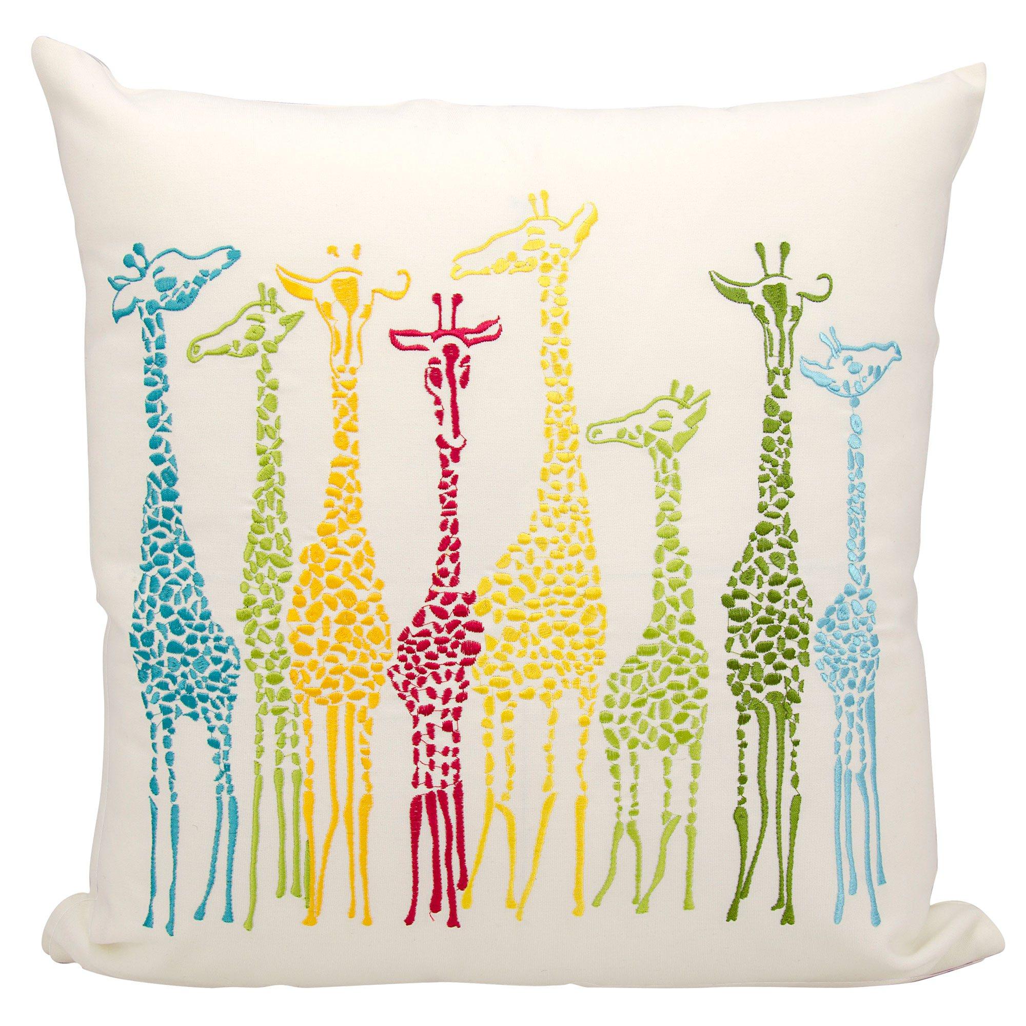 Multicolor Giraffe Embroidered Pillow 20 x 20  DFOHome