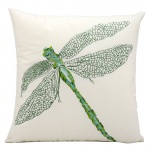 Green Dragonfly Embroidered Pillow 16
