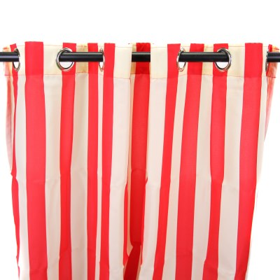 Polyester Red Stripe Outdoor Curtain with Steel Grommets 54in. x 84in.