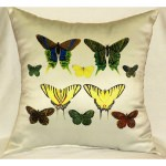 Yellow Butterflies Antique Outdoor Pillow 18in x 18in
