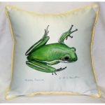 Green Tree Frog Art Outdoor Pillow 18in x 18in
