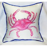 Pink Crab Art Outdoor Pillow 18in x 18in